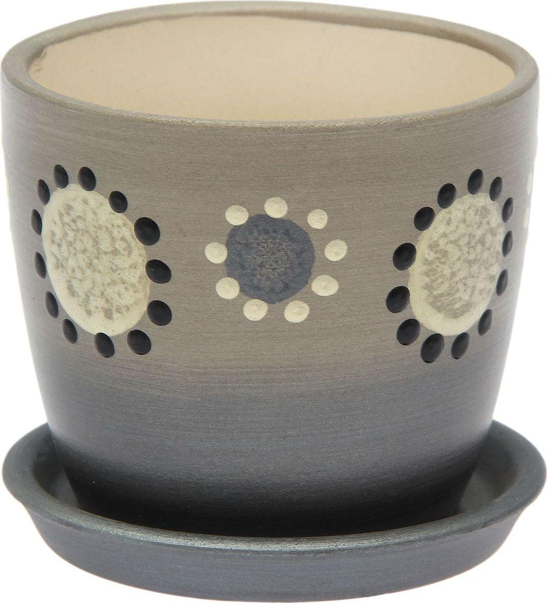Кашпо Керамика ручной работы Осень. Дорисовка, цвет: серебристый, 0,25 л1968909Комнатные растения — всеобщие любимцы. Они радуют глаз, насыщают помещение кислородом и украшают пространство. Каждому из них необходим свой удобный и красивый дом. Кашпо из керамики прекрасно подходят для высадки растений: за счёт пластичности глины и разных способов обработки существует великое множество форм и дизайновпористый материал позволяет испаряться лишней влагевоздух, необходимый для дыхания корней, проникает сквозь керамические стенки! #name# позаботится о зелёном питомце, освежит интерьер и подчеркнёт его стиль.