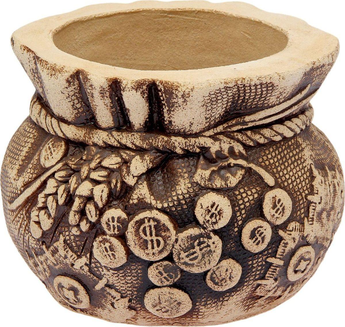 Горшок для цветов Керамика ручной работы Денежный мешок, 5 л1998798Горшок для цветов Керамика ручной работы Денежный мешок - настоящая находка для садоводов. Это замечательное изделие, словно претерпевшее влияние времени, станет изысканной деталью вашего участка.Фигура выполнена исключительно из шамотной глины, которая делает ее абсолютно нетоксичной, устойчивой к воздействию окружающей среды (морозостойкой), устойчивой к изменению цвета и структуры (не шелушится и не облезает). При декорировании используются только качественные пигменты. Глина обжигается в два этапа: утилитный (900°С) с последующим декорированием и политой (1100°С). Такая технология придает изделию необходимую крепость. Размер: 34 ? 26 ? 19 см.