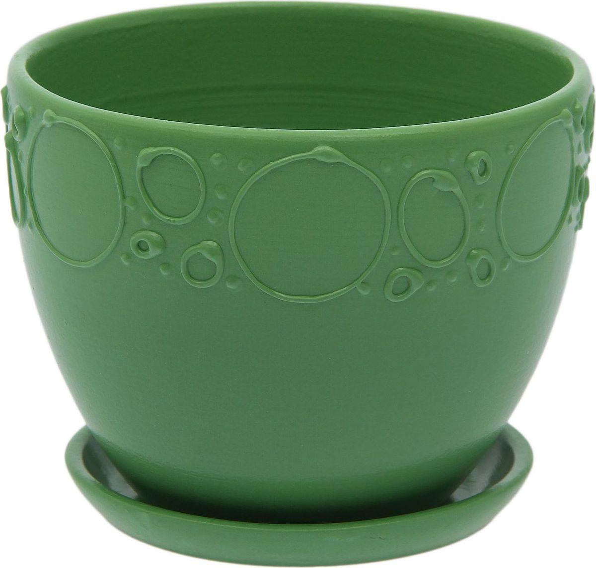 Кашпо Пузыри, цвет: зеленый, 0,8 л2015525Комнатные растения - всеобщие любимцы. Они радуют глаз, насыщают помещение кислородом и украшают пространство. Каждому из них необходим свой удобный и красивый дом. Кашпо из керамики прекрасно подходят для высадки растений: пористый материал позволяет испаряться лишней влаге; воздух, необходимый для дыхания корней, проникает сквозь керамические стенки. Кашпо Пузыри позаботится о зелёном питомце, освежит интерьер и подчеркнёт его стиль. Объем: 0,8 л.