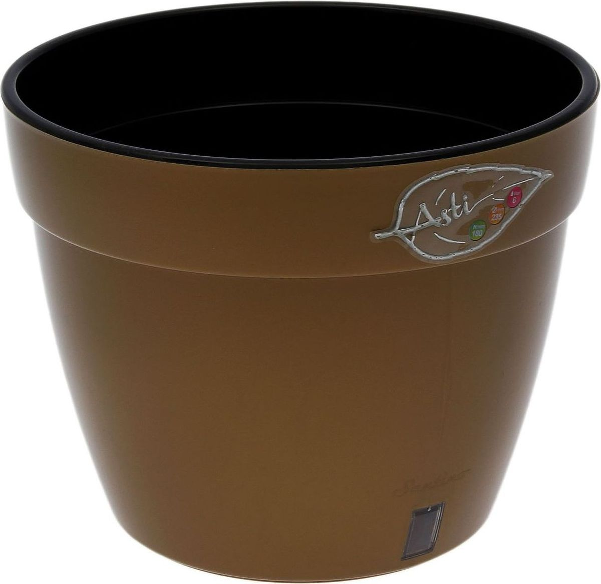 """Горшок Santino """"Асти"""", выполненный из высококачественного пластика, предназначен для выращивания комнатных цветов, растений и трав.  Специальная конструкция обеспечивает вентиляцию в корневой системе растения, а дренажные отверстия позволяют выходить лишней влаге из почвы. Изделие состоит из цветного кашпо и внутреннего горшка. Растение высаживается во внутренний горшок и вставляется в кашпо.Такой горшок порадует вас современным дизайном и функциональностью, а также оригинально украсит интерьер любого помещения. Диаметр горшка: 30 см. Высота горшка: 23,5 см. Диаметр дна: 19 см."""