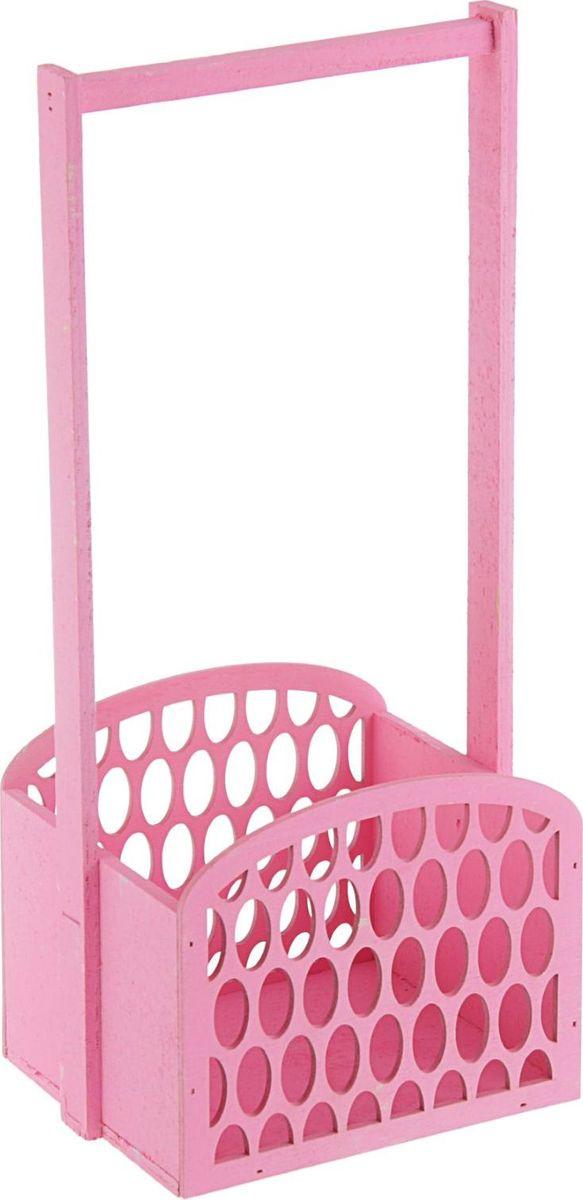 Кашпо-заготовка ТД ДМ Решето, цвет: розовый, 17 х 37 х 13 см кашпо тд дм ящик любовь флористическое 20 х 16 х 9 5 см