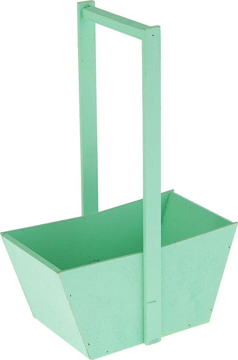 Кашпо-заготовка ТД ДМ Ящик, цвет: зеленый, 24 х 14 х 36 см2104027