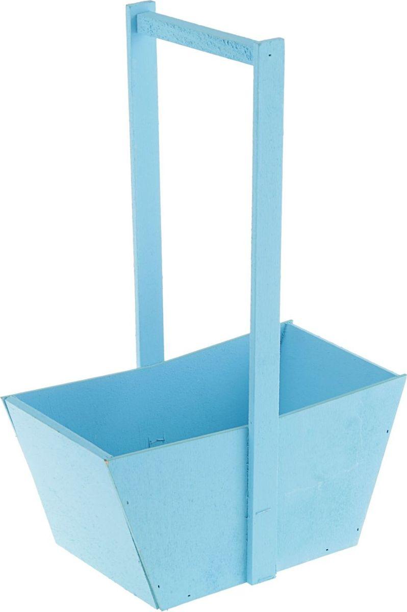 Кашпо-заготовка ТД ДМ Ящик, цвет: голубой, 24 х 13,5 х 36 см2104028