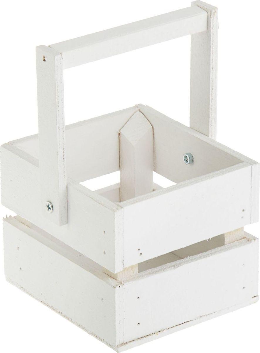 Кашпо ТД ДМ Ящик, со складной ручкой, цвет: белый, 11 х 12 х 9 см2219774