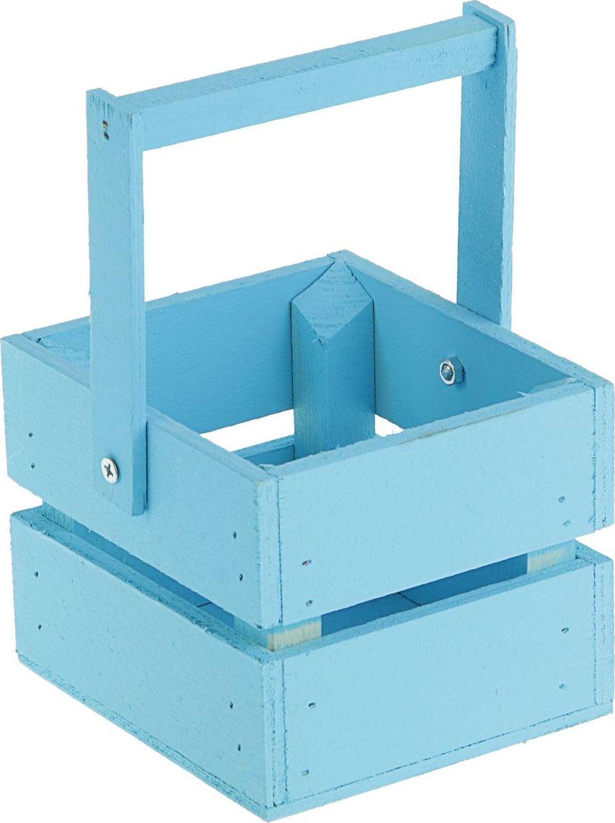 Кашпо ТД ДМ Ящик, со складной ручкой, цвет: голубой, 11 х 12 х 9 см2219775