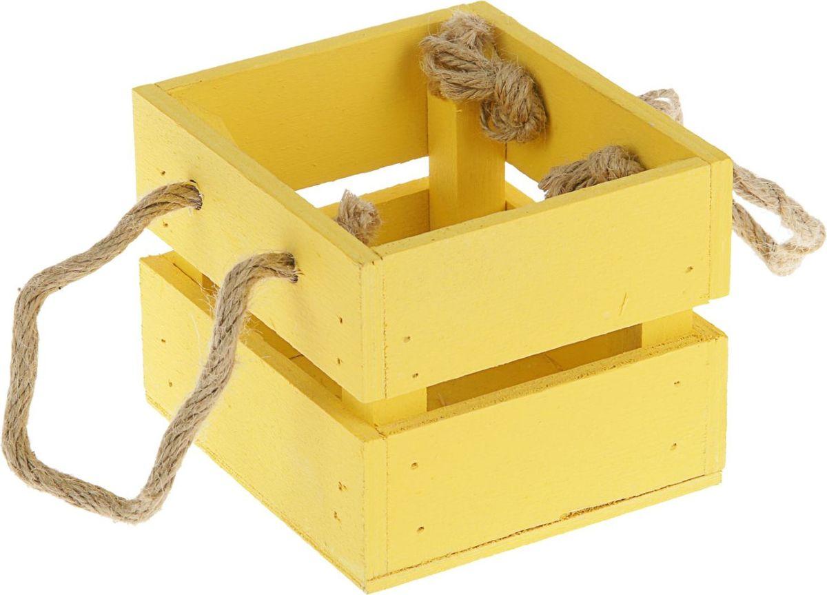 Кашпо ТД ДМ Ящик, цвет: желтый, 11 х 12 х 9 см2219784Кашпо, выполненное из дерева, поможет хранить воспоминание о месте, где вы побывали, или о том человеке, который подарил данный предмет. Преподнесите эту вещь своему другу, и она станет достойным украшением его дома.