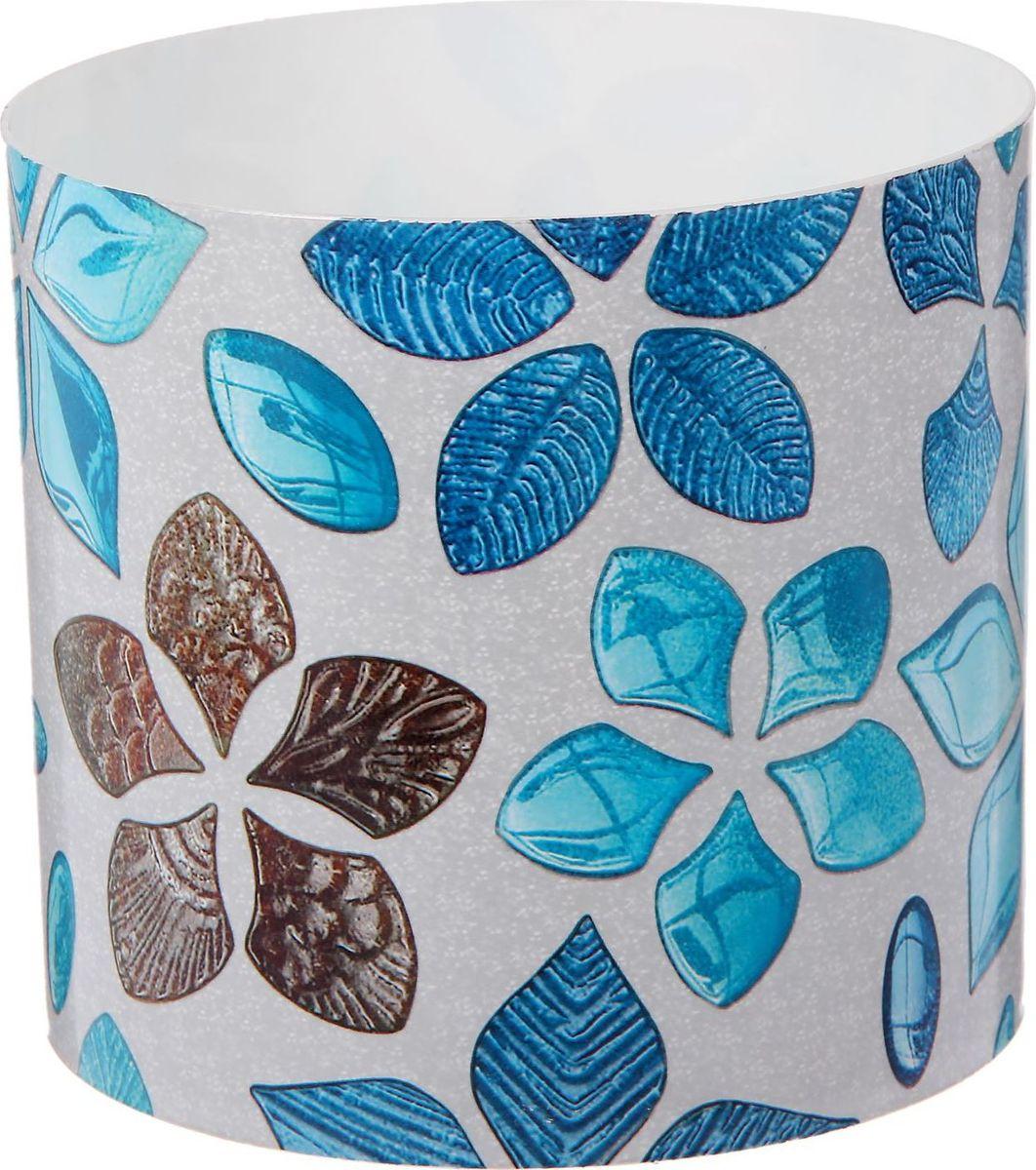 Горшок для цветов Simple Garden Стеклянные цветы, со скрытым поддоном, цвет: голубой, 1,7 л2265057