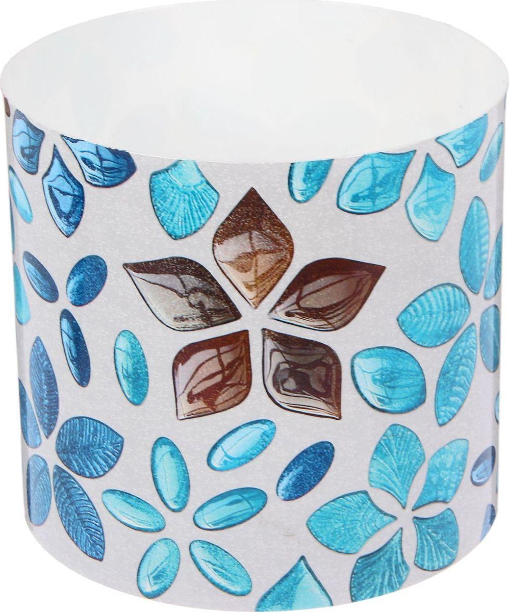 Горшок для цветов Simple Garden Стеклянные цветы, со скрытым поддоном, цвет: голубой, 2,8 л2265058