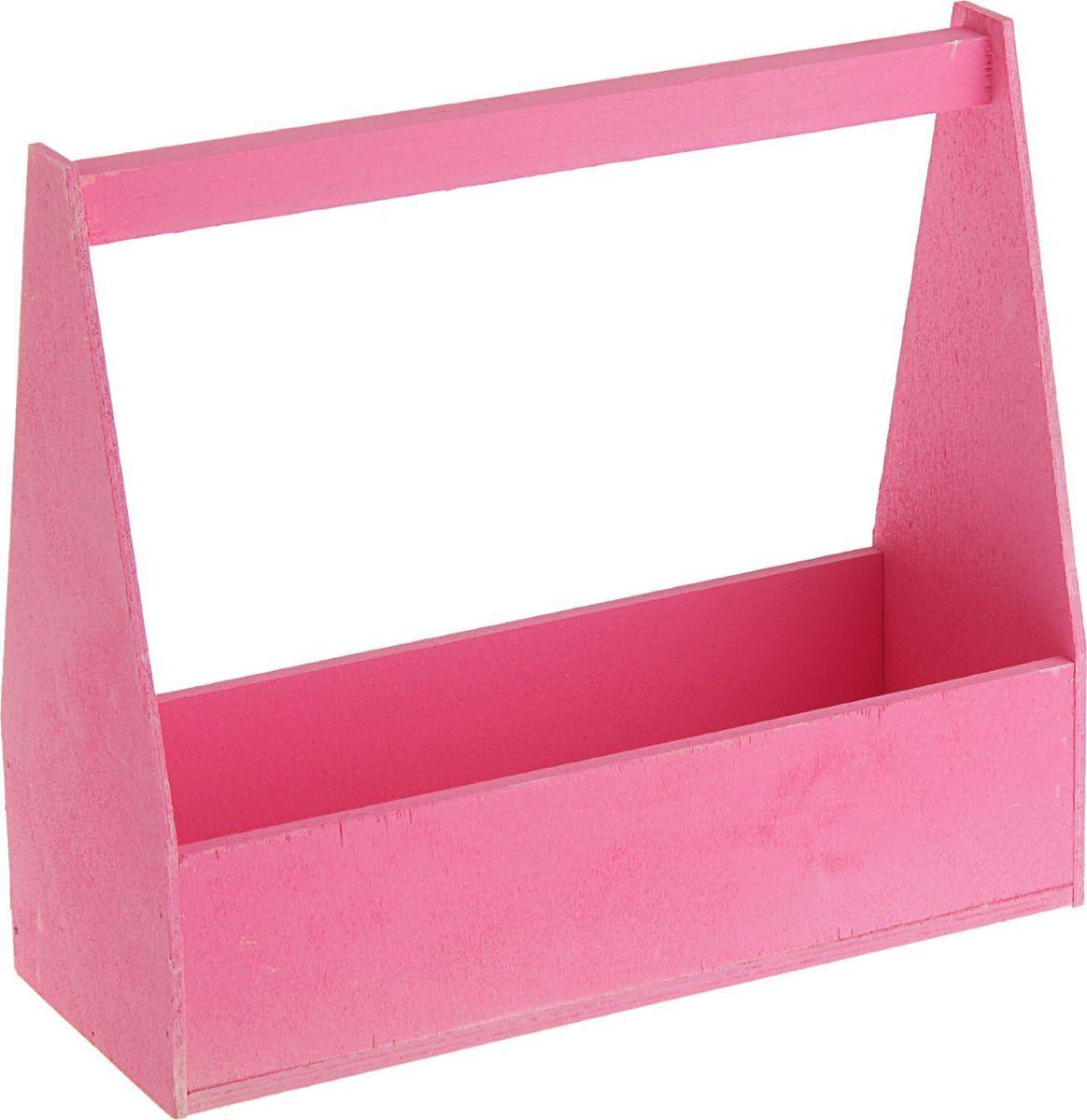 Кашпо ТД ДМ Ящик, флористическое, цвет: розовый, 27 х 11 х 9 см2269525
