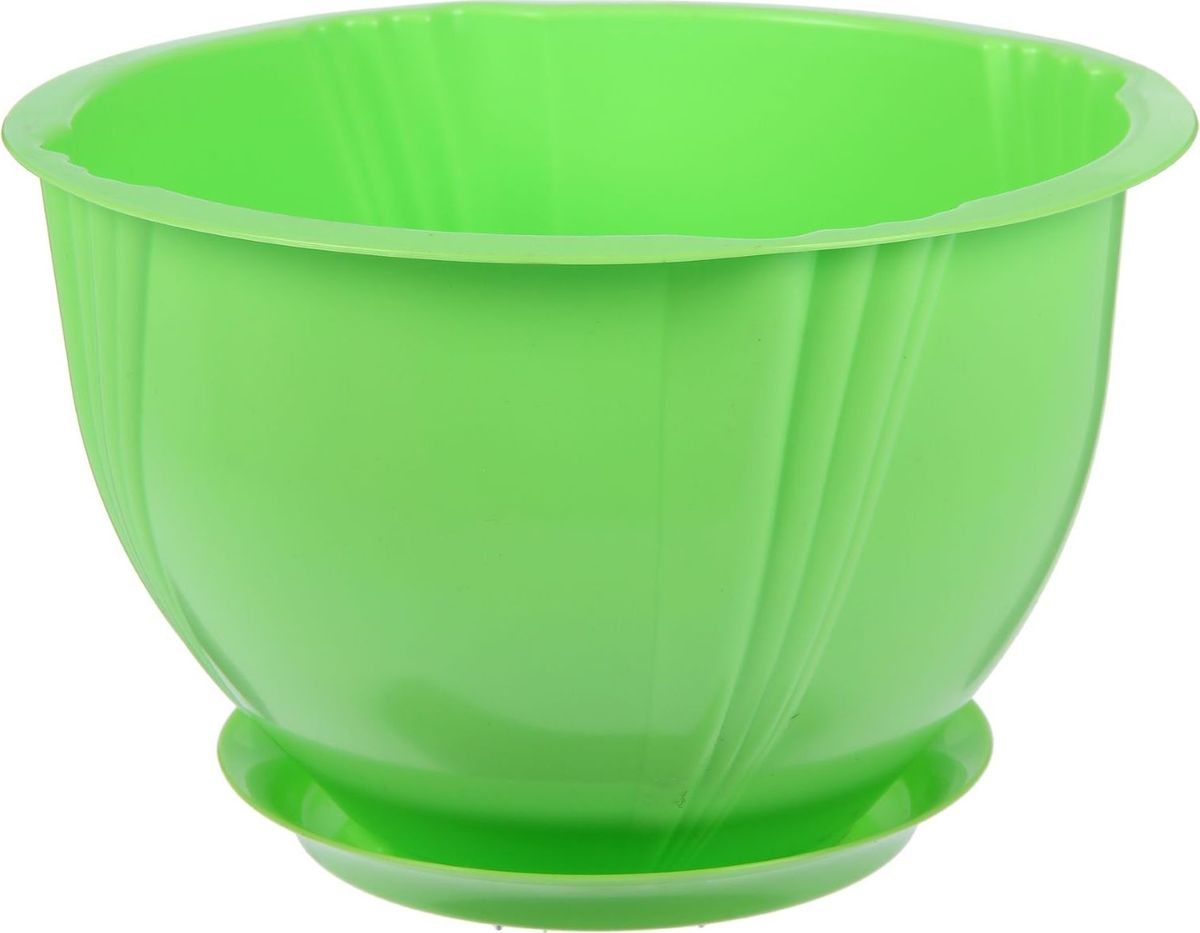 Кашпо Berossi Diana, с поддоном, цвет: зеленый, 5 л628361Кашпо — это не просто ёмкость для выращивания комнатных растений, но и важный элемент декора.Посадите растение в Кашпо с поддоном 5 л Diana, цвет зеленый! Его интересная форма дополнит интерьер, а качественный материал будет радовать вас долгие годы. Пластик полностью безопасен и не вступает в реакцию с почвой и корнями растения. Помимо этого, горшокЛёгкий, что делает удобной его транспортировку и эксплуатацию.Практичный: можно использовать для большинства комнатных растений. Цельный — вам не потребуются дпоолнительные приспособления и элементы.