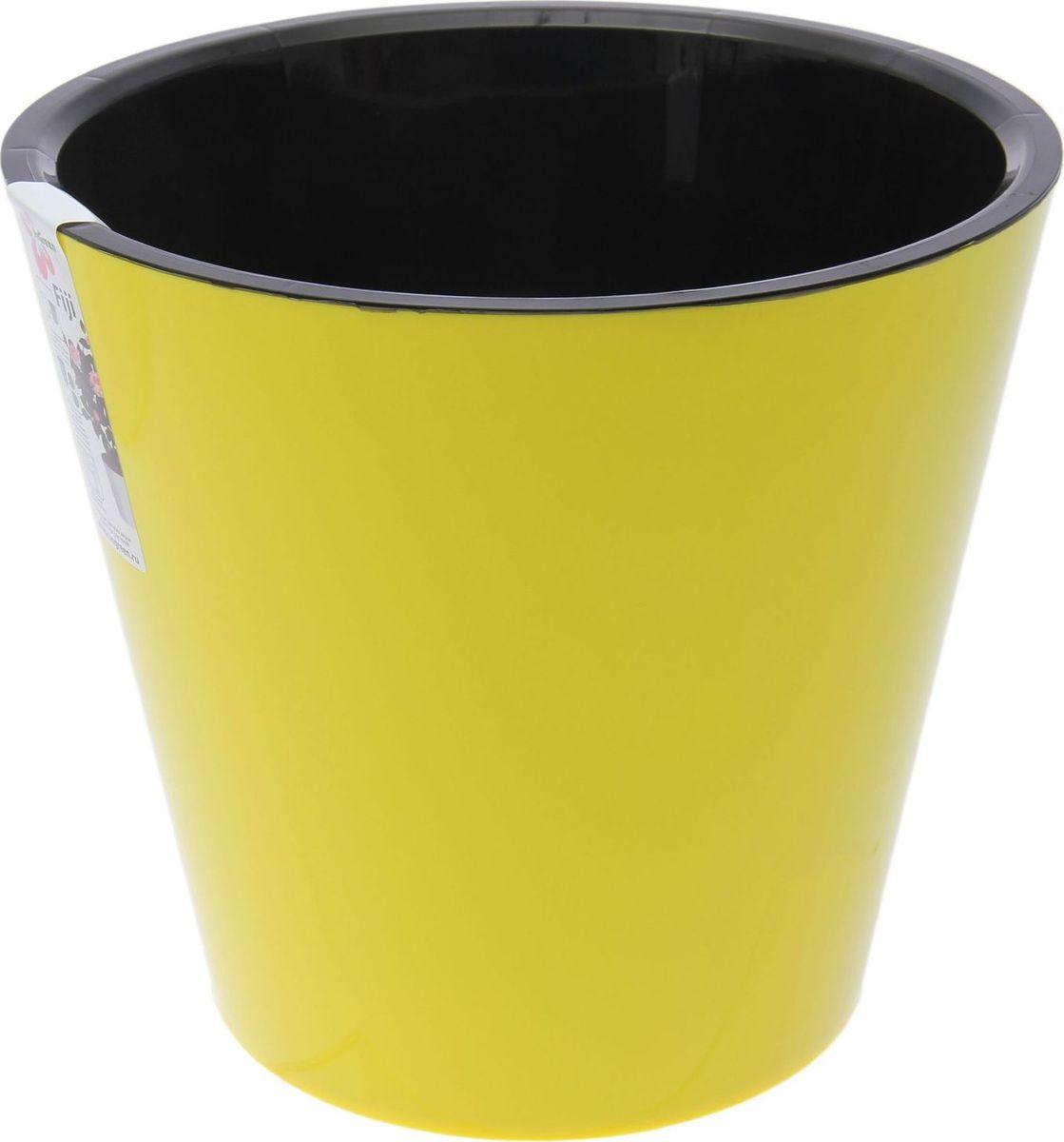 Горшок для цветов InGreen Фиджи, цвет: желтый, 5 л2372093Горшок для цветов Фиджи состоит из кашпо и внутреннего горшка. Растение высаживается во внутренний горшок с дренажными отверстиями и вставляется в кашпо. При поливе пространство между корпусом и вставкой заполняется водой и позволяет поить растение прямо в горшке. Гладкая поверхность внутреннего горшка препятствует прикреплению корней, при пересадке корневая система не повреждается. Также корни обеспечены циркуляцией воздуха за счет дренажных отверстий.Объем: 5 л.Диаметр: 230 мм.