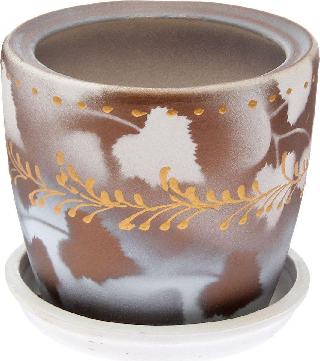 Кашпо, цвет: белый, коричневый, 1 л. 23827832382783Комнатные растения — всеобщие любимцы. Они радуют глаз, насыщают помещение кислородом и украшают пространство. Каждому из них необходим свой удобный и красивый дом. Кашпо из керамики прекрасно подходят для высадки растений: за счет пластичности глины и разных способов обработки существует великое множество форм и дизайнов пористый материал позволяет испаряться лишней влаге воздух, необходимый для дыхания корней, проникает сквозь керамические стенки! позаботится о зеленом питомце, освежит интерьер и подчеркнет его стиль.