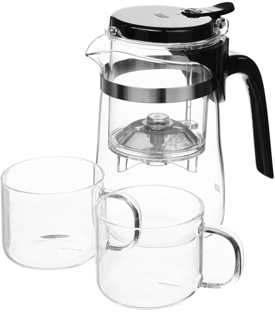 """Набор для чая SAMADOYO  """"SAG-08+"""" состоит из заварочного чайника и двух чашек. Заварочный чайник изготовлен из высококачественного термостойкого стекла и  пластика. Он удобен в использовании, любой человек, даже не имеющий большого опыта в  заваривании чая, сможет заварить в нем чай до правильной консистенции без риска  перезаварить чай. При нажатии на кнопку заваренный настой из фильтра переливается в нижнюю  часть чайника, процесс заварки останавливается, а чаинки остаются в фильтре. Чашки выполнены из боросиликатного стекла, что делает их устойчивыми к перепадам  температур. Благодаря этому они намного легче и прочнее, чем обычное стекло. Прозрачность  позволяет полностью насладиться красивым видом заваренного чая. Диаметр чайника (по верхнему краю): 8 см. Высота чайника: 15 см. Объем чайника: 500 мл. Размер колбы с фильтром (с учетом крышки): 9,5 х 7,5 х 10,5 см. Объем колбы с фильтром: 250 мл. Диаметр чашки (по верхнему краю): 6,5 см. Высота стенки чашки: 5 см. Объем чашки: 150 мл."""