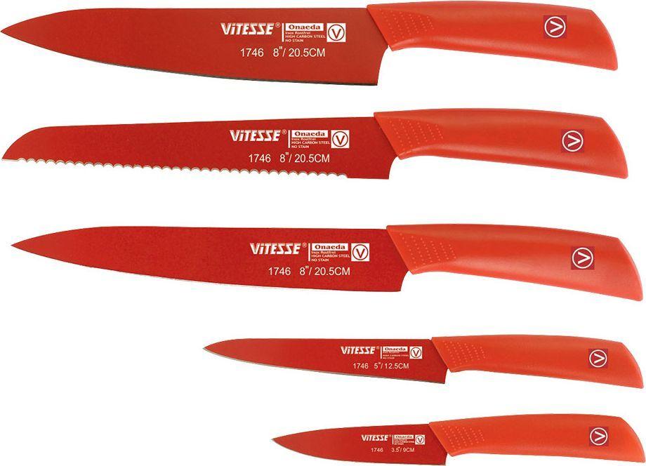 Набор ножей Vitesse Onaeda, цвет: красный, 5 шт. VS-1746 нож тренировочный cold steel military classic общая длина 29 5 см