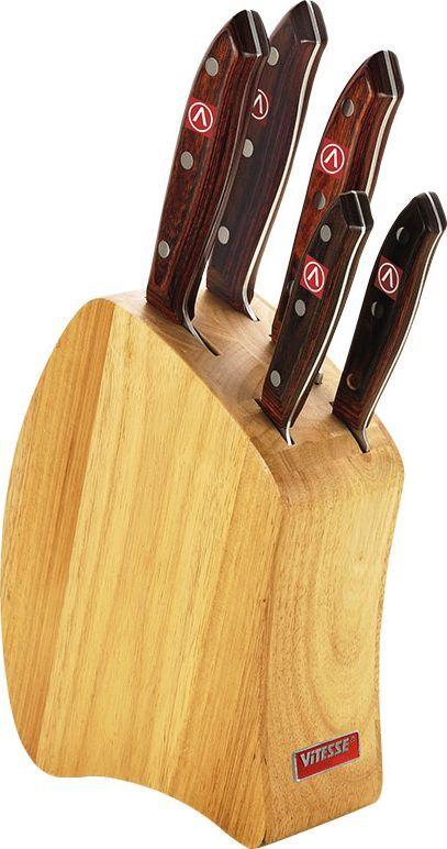 Набор ножей Vitesse Calantha на подставке, 6 предметов.VS-1730VS-1730Набор Vitesse Calantha предоставит вам все необходимые возможности в успешном приготовлении пищи и порадует вас своими результатами. При изготовлении ножей используется высоко-углеродистая каленая сталь AISI 420J2, которая обеспечивает высокие режущие свойства кромки клинка. Сечение клинка ножей - клинообразно, что позволяет режущей кромке быть продолжительное время острой. Рукоятка ножей изготовлена из высококачественной древесины, ножниц - из пластика.Предметы набора компактно размещаются в стильной подставке, которая выполнена из высококачественной древесины с полимерным покрытием. Физические и практические свойства данного материала гарантируют длительный эксплуатационный период. Набор включает в себя: Нож поварской - гибкость у окончания клинка позволяет нарезать; утолщенное основание клинка позволяет рубить мясо, рыбу, овощи и фрукты. Плоской поверхностью клинка можно давить чеснок или отбивать мясо. Обух клинка можно применять для дробления костей. Нож для хлеба - нож с зубчатой кромкой лезвия применяется для нарезки как свежих, так и черствых хлебобулочных изделий. При резке таким ножом мякиш изделия не нарушается. Нож применяется для резки рогаликов, булочек, бубликов и рулетов.Нож разделочный - идеальный инструмент для нарезки мяса для жаркого, ветчины и других сортов мяса.Нож универсальный - применяется для нарезки фруктов, сыра и приготовления бутербродов. Нож для чистки и резки - используется для чистки овощей и фруктов, приготовления гарниров и салатов. Также применяется для отделения костей в птице или рыбе. Характеристики:Материал:нержавеющая сталь, дерево, пластик. Длина лезвия поварского ножа: 20 см. Общая длина поварского ножа: 35 см. Длина лезвия ножа для хлеба: 22,5 см. Общая длина ножа для хлеба: 37,5 см. Длина лезвия ножа разделочного: 20 см. Общая длина ножа разделочного: 35 см. Длина лезвия универсального ножа: 12,5 см. Общая длина универсального ножа: 24 см. Длина лезвия н