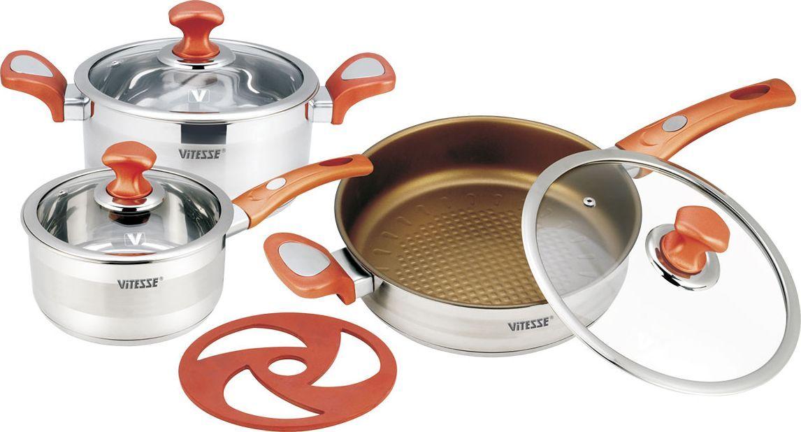 Набор посуды Vitesse, цвет: красный, 7 предметов. VS-2024 + ПОДАРОК: Нож и складной дуршлагVS-2024Набор посуды Vitesse состоит из кастрюли с крышкой, сотейника с крышкой, сковороды с крышкой и бакелитовой подставки. Изделия выполнены из высококачественной нержавеющей стали 18/10. Комбинация зеркальной и матовой полировки придает посуде стильный внешний вид. Многослойное термоаккумулирующее дно с прослойкой из алюминия обеспечивает равномерное распределение тепла. Внутренние стенки имеют шкалу литража. Посуда оснащена удобными ненагревающимися ручками из бакелита красного цвета с силиконовым покрытием. Крышки изготовлены из жаропрочного стекла, оснащены ручками и отверстиями для выпуска пара. Благодаря таким крышкам можно следить за приготовлением блюд без потери тепла. Подставка изготовлена из бакелита красного цвета; она сбережет поверхность стола от высоких температур. Сковорода оснащена двухслойным антипригарным покрытием Xylan золотистого цвета. Такое покрытие служит в 3 раза дольше, чем обыкновенная посуда с антипригарным покрытием. - Уникальный верхний слой облегчает извлечение продуктов и чистку, - Прочный средний слой препятствует появлению царапин, - Шероховатый грунтовый слой обеспечивает долгий срок службы.Можно готовить на газовых, электрических, стеклокерамических, галогенных, индукционных плитах. Подходит для мытья в посудомоечной машине и использования в духовом шкафу. В подарок: - керамический нож с покрытием Non-Stick (не допускающим прилипания), в чехле, - складной силиконовый дуршлаг. Характеристики:Материал: нержавеющая сталь 18/10, стекло, бакелит. Цвет: серебристый, красный. Диаметр кастрюли: 20 см. Объем кастрюли: 3,1 л. Высота стенки кастрюли: 10,5 см. Диаметр дна кастрюли: 18,5 см. Диаметр сотейника: 18 см. Объем сотейника: 2,2 л. Высота стенки сотейника: 9 см. Диаметр дна сотейника: 16,5 см. Длина ручки сотейника: 17 см. Диаметр сковороды: 24 см. Высота стенки сковороды: 7 см. Диаметр дна сковороды: 22,5 см. Длина ручки сковороды: 18,5 см. 