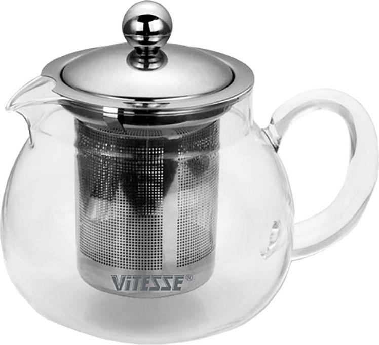 Чайник заварочный Vitesse Judy с фильтром, 700 млVS-1672Заварочный чайник Vitesse Judy со специальным фильтром позволит вам заварить свежий, ароматный чай и займет достойное место на вашей кухне. Чайник выполнен из термостойкого стекла, которое выдерживает температуру до 350°С. Фильтр и крышка изготовлены из высококачественной нержавеющей стали 18/10. Горлышко и ручка изготовлены в ручную. Чайник можно использовать на электрических и газовых плитах при слабом огне, а также мыть в посудомоечной машине. Современный дизайн полностью соответствует последним модным тенденциям в создании предметов бытовой техники. Характеристики: Материал:стекло, нержавеющая сталь. Объем:700 мл. Высота (без крышки):10,5 см. Размер коробки:16 см х 16 см х 13,5 см.Артикул:VS-1672.
