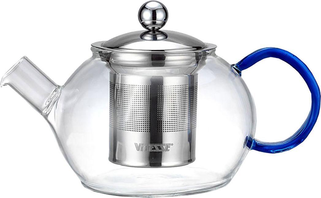 Чайник заварочный Vitesse Nature, с фильтром, 800 млVS-1693Заварочный чайник Vitesse Nature, выполненный из термостойкого стекла, предоставит вам все необходимые возможности для успешного заваривания чая. Чай в таком чайнике дольше остается горячим, а полезные и ароматические вещества полностью сохраняются в напитке. Чайник имеет вынимающийся фильтр и крышку из нержавеющей стали 18/10, горлышко и ручка изготовлены вручную.Эстетичный и функциональный, с эксклюзивным дизайном, чайник будет оригинально смотреться в любом интерьере.Чайник пригоден для мытья в посудомоечной машине.Высота чайника (без учета крышки): 9 см. Диаметр основания чайника: 7 см.