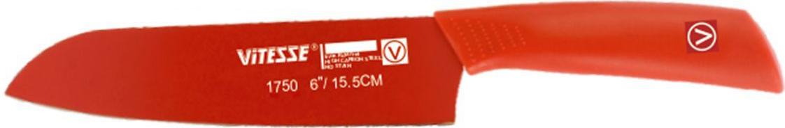 Нож сантоку Vitesse Maribel, длина лезвия 15 смVS-1750Нож сантоку Vitesse Maribel изготовлен из высококачественной нержавеющей стали с покрытием Non-Stick, не допускающим прилипания продуктов. Нож имеет острую режущую кромку, которая легко затачивается. Тщательно проработанный дизайн рукоятки с нескользящим прорезиненным покрытием позволяет ножу удобно располагаться в руке.Можно мыть в посудомоечной машине.Длина ножа: 27 см.