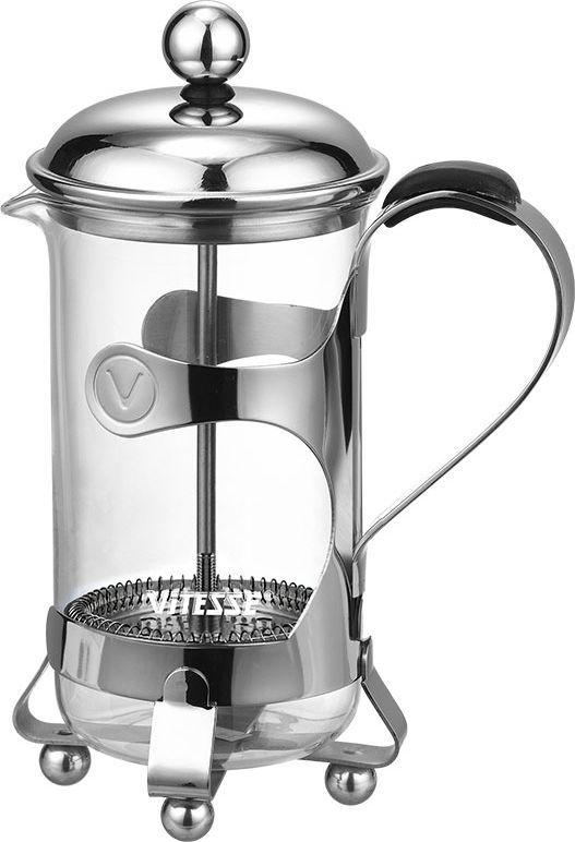 Кофеварка френч-пресс Vitesse Zita, 400 млVS-1800Кофеварка Vitesse Zita с фильтром френч-пресс из нержавеющей стали займет достойное место на вашей кухне. Колба кофеварки изготовлена из термостойкого стекла. Ручка снабжена противоскользящей резиновой вставкой. К кофеварке прилагается пластиковая мерная ложечка. Изделия пригодны для мытья в посудомоечной машине.Настоящим ценителям натурального кофе широко известны основные и наиболее часто применяемые способы его приготовления: эспрессо, по-турецки, гейзерный. Однако существует принципиально иной способ, известный как french press, благодаря которому приготовление ароматного напитка стало гораздо проще. Весь процесс приготовления кофе займет не более 7 минут. Попробовав однажды кофе, приготовленный с помощью французского пресса, вы не сможете отказать себе в удовольствии делать это снова и снова! Характеристики: Материал:нержавеющая сталь, стекло, пластик.Объем:400 мл.Высота кофеварки (с учетом крышки):16 см.Диаметр кофеварки по верхнему краю:7 см.Длина ложечки:10 см.Размер упаковки:11,5 см х 19 см х 9 см.Артикул:VS-1800.Кухонная посуда марки Vitesse из нержавеющей стали 18/10 предоставит Вам все необходимое для получения удовольствия от приготовления пищи и принесет радость от его результатов. Посуда Vitesse обладает выдающимися функциональными свойствами. Легкие в уходе кастрюли и сковородки имеют плотно закрывающиеся крышки, которые дают возможность готовить с малым количеством воды и экономией энергии, и идеально подходят для всех видов плит: газовых, электрических, стеклокерамических и индукционных. Конструкция дна посуды гарантирует быстрое поглощение тепла, его равномерное распределение и сохранение. Великолепно отполированная поверхность, а также многочисленные конструктивные новшества, заложенные во все изделия Vitesse, позволит Вам открыть новые горизонты приготовления уже знакомых блюд. Для производства посуды Vitesse используются только высококачественные материалы, которые соответствуют международным ста