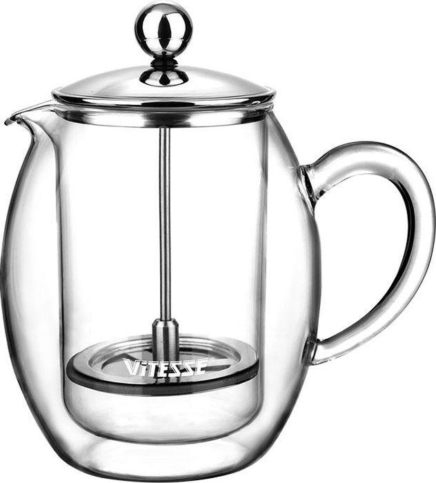 """Кофеварка Vitesse """"Zaida"""" с фильтром френч-пресс займет достойное место на вашей кухне. Колба кофеварки с двойными стенками изготовлена из термостойкого стекла. Встроенный в крышку фильтр френч-пресс из нержавеющей стали 18/10 позволит приготовить за 3-5 минут несколько чашек чая или кофе. К кофеварке прилагается пластиковая мерная ложечка. Уникальный дизайн полностью соответствует последним модным тенденциям в создании предметов бытовой техники. Изделие пригодно для мытья в посудомоечной машине. Настоящим ценителям натурального кофе широко известны основные и наиболее часто применяемые способы его приготовления: эспрессо, по-турецки, гейзерный. Однако существует принципиально иной способ, известный как """"french press"""", благодаря которому приготовление ароматного напитка стало гораздо проще.Метод """"french press"""" прост: в теплый кофейник насыпают кофе грубого помола и заливают горячей водой. После того, как напиток настоится 3-5 минут, гущу отделяют поршнем с сеткой - и кофе готов! Эксперты считают, что такой способ позволяет получить максимально ароматный и нежный кофе - ведь он не перегревается, не подвергается воздействию высокого давления и не проходит через бумажный фильтр. Результат - напиток с максимально чистым вкусом.     Характеристики:  Материал:  нержавеющая сталь, стекло, пластик.    Объем:  600 мл.    Высота (с учетом крышки):  20 см.    Размер упаковки:  15,5 см х 21 см х 13,5 см.    Изготовитель:  Китай.    Артикул:  VS-1848. Кухонная посуда марки  """"Vitesse"""" из нержавеющей стали 18/10 предоставит вам все необходимое для получения удовольствия от приготовления пищи и принесет радость от его результатов. Посуда """"Vitesse"""" обладает выдающимися функциональными свойствами. Легкие в уходе кастрюли и сковородки имеют плотно закрывающиеся крышки, которые дают возможность готовить с малым количеством воды и экономией энергии, и идеально подходят для всех видов плит: газовых, электрических, стеклокерамических и индукционных. Конструкция дна посуды гарантирует быст"""