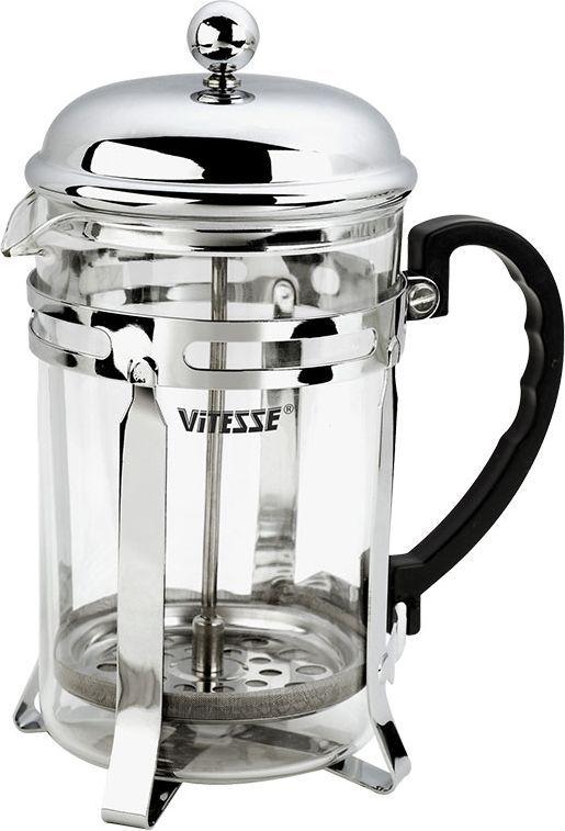 Кофеварка Vitesse Elicia, 350 млVS-1926Кофеварка Vitesse Elicia с фильтром френч-пресс займет достойное место на вашей кухне. Колба кофеварки изготовлена из термостойкого стекла, а фильтр френч-пресс из нержавеющей стали. К кофеварке прилагается пластиковая мерная ложечка. Изделие пригодно для мытья в посудомоечной машине. Настоящим ценителям натурального кофе широко известны основные и наиболее часто применяемые способы его приготовления: эспрессо, по-турецки, гейзерный. Однако существует принципиально иной способ, известный как french press, благодаря которому приготовление ароматного напитка стало гораздо проще.Метод french press прост: в теплый кофейник насыпают кофе грубого помола и заливают горячей водой. После того, как напиток настоится 3-5 минут, гущу отделяют поршнем с сеткой - и кофе готов! Эксперты считают, что такой способ позволяет получить максимально ароматный и нежный кофе - ведь он не перегревается, не подвергается воздействию высокого давления и не проходит через бумажный фильтр. Результат - напиток с максимально чистым вкусом. Характеристики:Материал:нержавеющая сталь, стекло, пластик. Объем:350 мл. Высота (с учетом крышки):18,5 см. Размер упаковки:13 см х 19 см х 8,5 см.Артикул:VS-1626. Кухонная посуда марки Vitesseиз нержавеющей стали 18/10 предоставит Вам все необходимое для получения удовольствия от приготовления пищи и принесет радость от его результатов. Посуда Vitesse обладает выдающимися функциональными свойствами. Легкие в уходе кастрюли и сковородки имеют плотно закрывающиеся крышки, которые дают возможность готовить с малым количеством воды и экономией энергии, и идеально подходят для всех видов плит: газовых, электрических, стеклокерамических и индукционных. Конструкция дна посуды гарантирует быстрое поглощение тепла, его равномерное распределение и сохранение. Великолепно отполированная поверхность, а также многочисленные конструктивные новшества, заложенные во все изделия Vitesse, позволит Вам открыть новые горизонты приготовления у