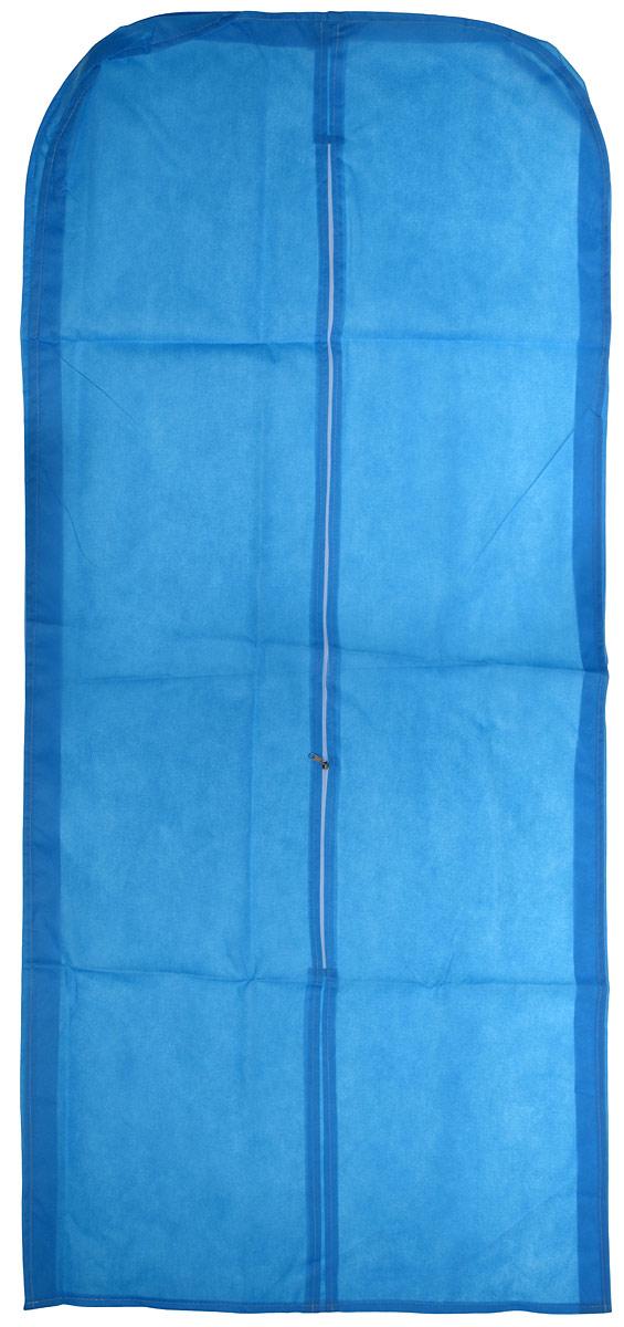 Чехол для одежды Eva со вставкой, цвет: синий, 65 х 140 х 10 см чехол для хранения одежды eva цвет синий 60 х 92 см
