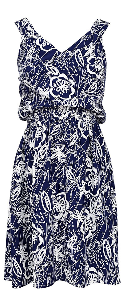Сарафан для беременных и кормящих Mammy Size, цвет: синий, белый. 510345. Размер 42510345Сарафан Mammy Size выполнен из натуральной ткани в свободном фантазийном исполнении, сочетает в себе прилегающий верх и юбку клеш. Глубокий и оригинальный двусторонний вырез подчеркивает область декольте и изящество спины. Удивительное сочетание практичности и романтики.