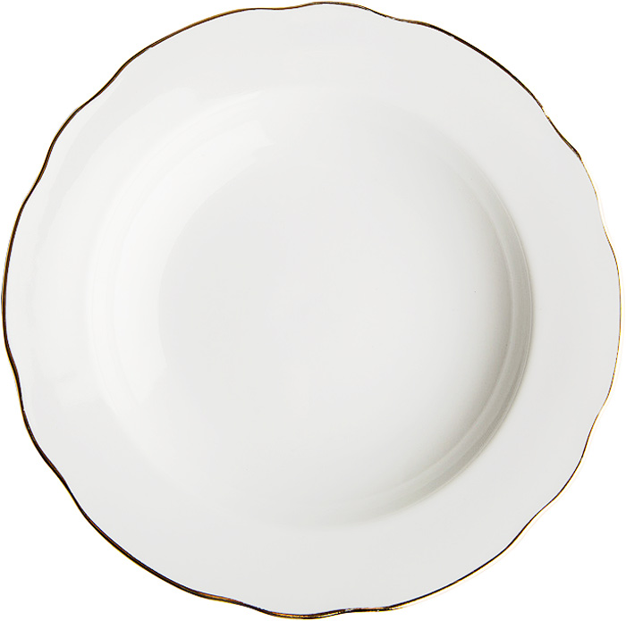 Тарелка глубокая Дулевский Фарфор Отводка золотом, диаметр 24 см