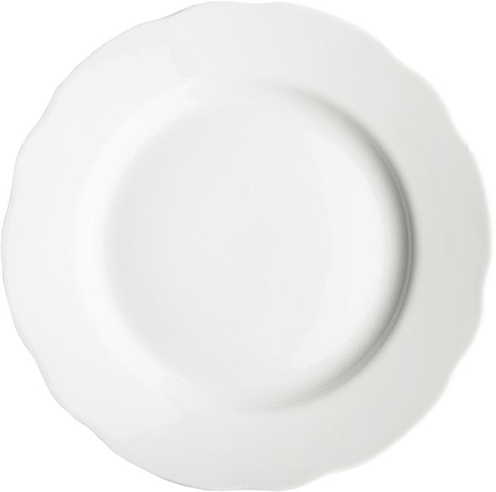 """Тарелка Дулевский Фарфор """"Белая"""" выполнена из высококачественного фарфора, покрытого глазурью. Изделие дополнено вырезным краем. Такая тарелка отлично подойдет для подачи десертов, а также нарезок или закусок."""