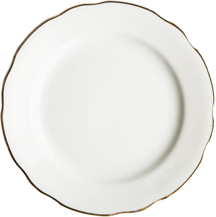 Тарелка мелкая Дулевский Фарфор Отводка золотом, диаметр 20 см тарелка мелкая симплисити вайт слимлайн фарфор d 25 5см белый