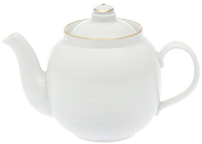 Чайник заварочный Дулевский Фарфор Янтарь. Отводка золотом, 1,4 л