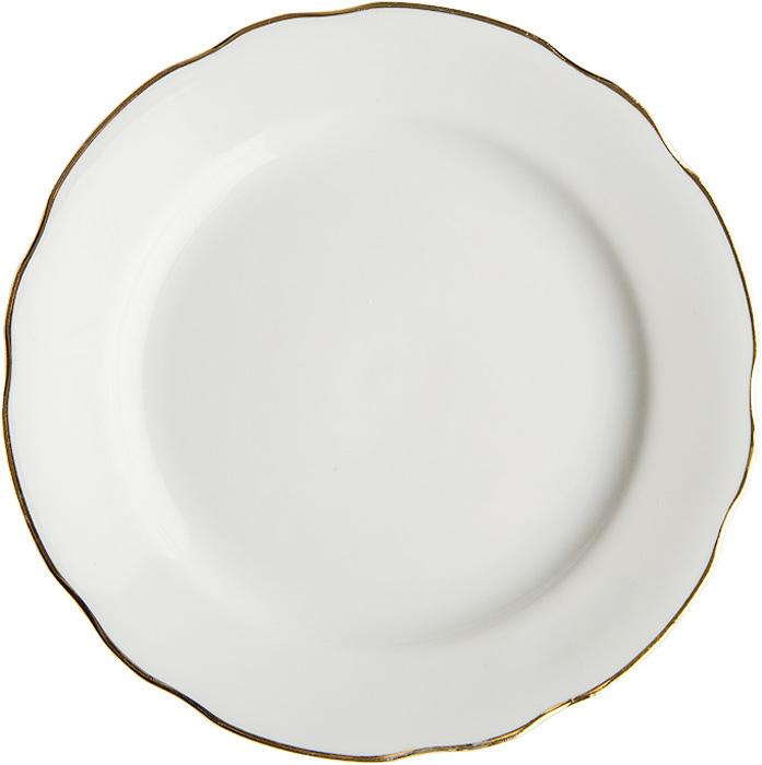 Тарелка мелкая Дулевский Фарфор Отводка золотом, диаметр 24 см тарелка мелкая симплисити вайт слимлайн фарфор d 25 5см белый