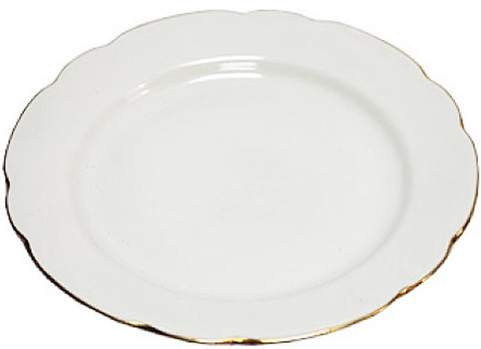 """Блюдо круглое с вырезным краем Дулевский Фарфор """"Отводка золотом"""" выполнено из высококачественного фарфора.         Блюдо предназначено для подачи основныхблюд. Благодаря своему внушительному размеру это изделие подойдет для большой компании. Красивое и оригинальное блюдо отлично дополнит сервировку стола и станет удачнымприобретением для вашей кухни."""