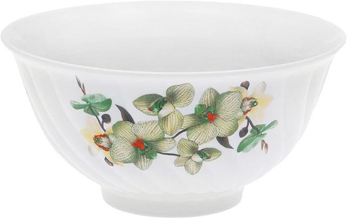 Салатник Дулевский Фарфор Орхидея зеленая, 1,4 л040552Салатник Дулевский Фарфор выполнен из высококачественного фарфора, покрытого глазурью. Такой салатник отлично подойдет для подачи салатов, закусок, нарезок. Он красиво дополнит сервировку стола и станет полезным приобретением для кухни.