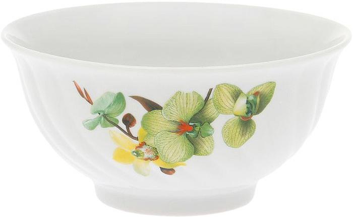 Салатник Дулевский Фарфор Орхидея зеленая, 700 мл040632Салатник Дулевский Фарфор выполнен из высококачественного фарфора, покрытого глазурью. Такой салатник отлично подойдет для подачи салатов, закусок, нарезок. Он красиво дополнит сервировку стола и станет полезным приобретением для кухни.