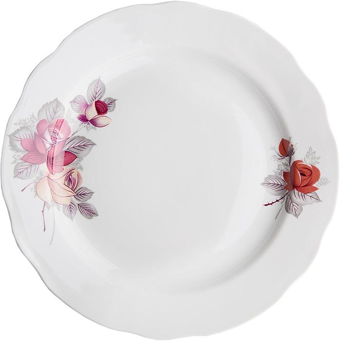Тарелка мелкая Дулевский Фарфор Дикая роза, диаметр 24 см. 048292 тарелка мелкая симплисити вайт слимлайн фарфор d 25 5см белый