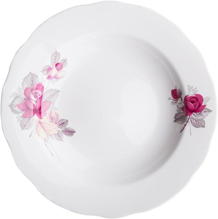 Тарелка глубокая Дулевский Фарфор Дикая роза, диаметр 24 см. 048302048302Глубокая тарелка подходит для сервировки стола и подачи первых блюд. Изделие выполнено из фарфора в соответствии с ГОСТ, что говорит о высоком качестве.Тарелку можно мыть в посудомоечной машине.
