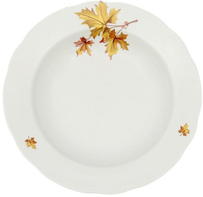 Тарелка глубокая Дулевский Фарфор Клен, диаметр 24 см. 049052049052Глубокая тарелка подходит для сервировки стола и подачи первых блюд. Изделие выполнено из фарфора в соответствии с ГОСТ, что говорит о высоком качестве.Тарелку можно мыть в посудомоечной машине.