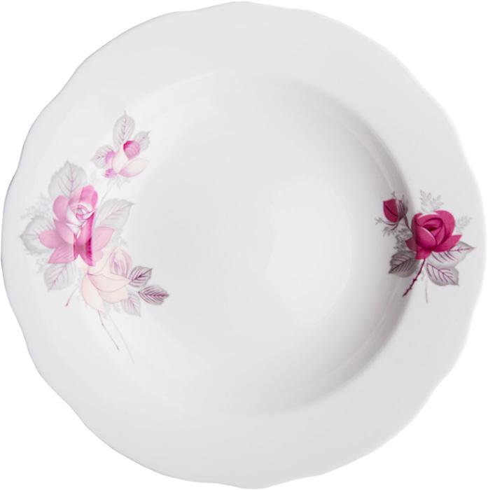 Тарелка глубокая Дулевский Фарфор Дикая роза, диаметр 20 см050592Глубокая тарелка подходит для сервировки стола и подачи первых блюд. Изделие выполнено из фарфора в соответствии с ГОСТ, что говорит о высоком качестве.Тарелку можно мыть в посудомоечной машине.