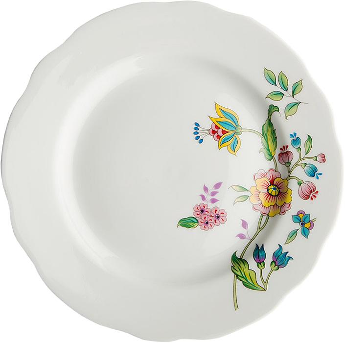 Тарелка мелкая Дулевский Фарфор Луговые цветы, диаметр 17,5 см066932Тарелка Дулевский Фарфор Луговые цветы выполнена из высококачественного фарфора, покрытого глазурью. Изделие дополнено красочным цветочным рисунком и вырезным краем. Такая тарелка отлично подойдет для подачи десертов, а также нарезок или закусок.