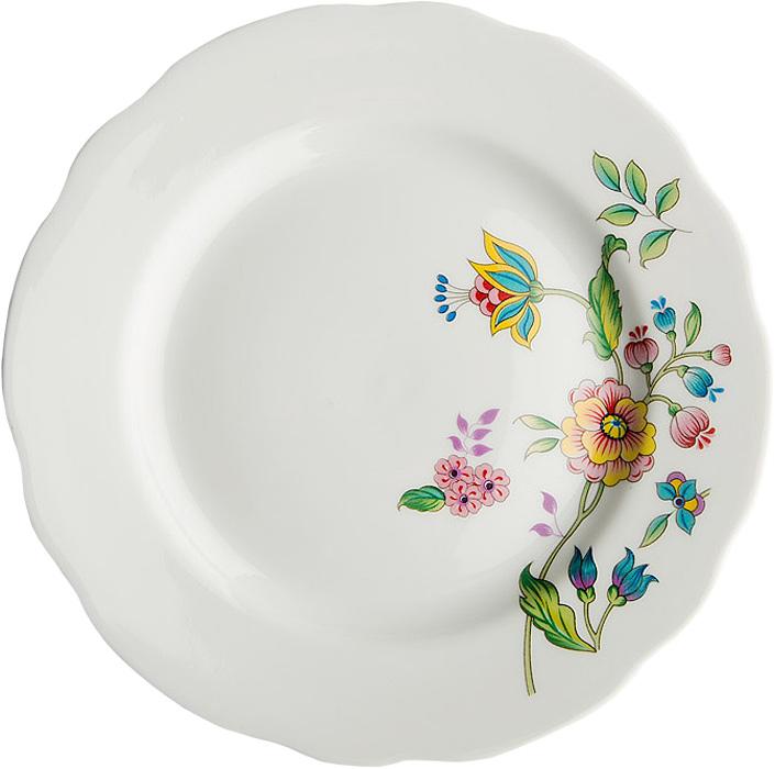 Тарелка мелкая Дулевский Фарфор Луговые цветы, диаметр 24 см10335SLBD27Тарелка Дулевский Фарфор Луговые цветы выполнена из высококачественного фарфора, покрытого глазурью. Изделие дополнено красочным цветочным рисунком и вырезным краем. Такая тарелка отлично подойдет для подачи десертов, а также нарезок или закусок.