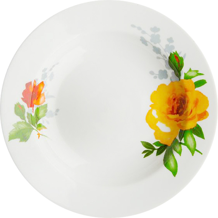 Тарелка глубокая Дулевский Фарфор Роза без отводки, диаметр 20 см068252Глубокая тарелка подходит для сервировки стола и подачи первых блюд. Изделие выполнено из фарфора в соответствии с ГОСТ, что говорит о высоком качестве.Тарелку можно мыть в посудомоечной машине.