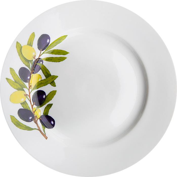 Тарелка мелкая Дулевский Фарфор Оливки, диаметр 20 см068782Тарелка Дулевский Фарфор выполнена из высококачественного фарфора, покрытого глазурью. Изделие дополнено красочным рисунком. Тарелку можно использовать для сервировки различных блюд.
