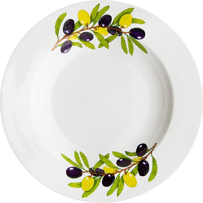 Тарелка Дулевский Фарфор выполнена из высококачественного фарфора, покрытого глазурью. Изделие дополнено красочным рисунком. Тарелку можно использовать для сервировки различных блюд.
