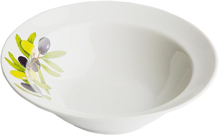 Миска Дулевский Фарфор Оливки, 500 мл068832Миска Дулевский Фарфор Оливки изготовлена из высококачественного фарфора. Внутренняя стенка оформлена красочным изображением. Такая миска пригодится на любой кухне. В ней можно сервировать различные блюда или использовать как суповую тарелку.