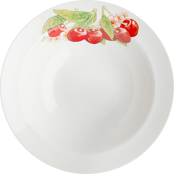 Тарелка глубокая Дулевский фарфор Вишня, диаметр 20 см069472Глубокая тарелка подходит для сервировки стола и подачи первых блюд. Изделие выполнено из фарфора в соответствии с ГОСТ, что говорит о высоком качестве.Тарелку можно мыть в посудомоечной машине.