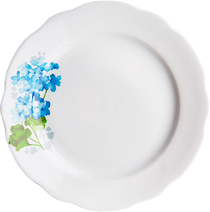 Тарелка мелкая Дулевский Фарфор Голубая герань, диаметр 17,5 см071822Тарелка Дулевский Фарфор Голубая герань выполнена из высококачественного фарфора, покрытого глазурью. Изделие дополнено красочным цветочным рисунком и вырезным краем. Такая тарелка отлично подойдет для подачи десертов, пирожных и тортов к чаепитию.