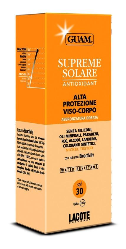 Guam Солнцезащитный крем SPF 30 Solare, 150 мл0773Крем содержит в своем составе комбинацию физических и химических фильтров, эффективно защищающих кожу сразу от двух типов ультрафиолетового излучения: UVA и UVB. Экстракт водорослей GUAM в составе крема способствуют выводу токсинов из клеток кожи. Растительный глицерин является эффективным увлажнителем. Масло сладкого миндаля обладает успокаивающими и смягчающими свойствами. Масло риса, жожоба и витамин Е оказывают регенерирующее и заживляющее действие, являясь эффективными для любого типа кожи. Масло моркови и экстракт арбуза стимулируют естественную выработку меланина и способствуют проявлению красивого, ровного и здорового загара. Подходит для светлой, чувствительной кожи и в первые дни пребывания на солнце.