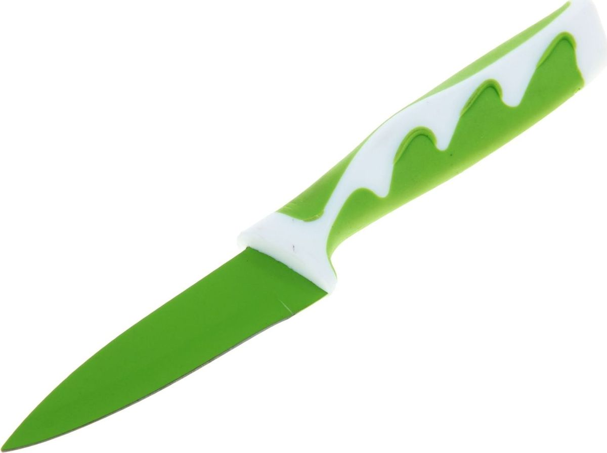 Нож Доляна Волна, с антиналипающим покрытием, цвет: зеленый , 9 см. 833154833154Нож с антиналипающим покрытием станет отличным подспорьем в готовке для каждого увлечённого повара.Чем он хорош?Антиналипающее покрытие сокращает время готовки.Надёжная сталь обеспечивает длительный срок службы и высокую прочность.Изделие не впитывает посторонние запахи, не вступает в реакции с продуктами.Нож легко моется, требует минимального ухода.Удобная ручка предохраняет руки от усталости.Яркий дизайн выгодно отличает нож от морально устаревших моделей.Правила ухода:перед первым применением нож необходимо тщательно промыть в горячей воде с добавлением чистящего средства;производите чистку ножа после каждого использования;не используйте абразивные моющие средства и металлические губки;перед тем, как убрать нож на хранение, обязательно протрите его сухим полотенцем.Внимание: лезвия ножей очень острые! Храните ножи в недоступном для детей месте.